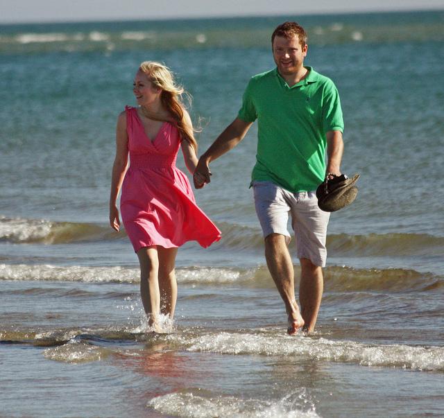 happy couple taking a walk