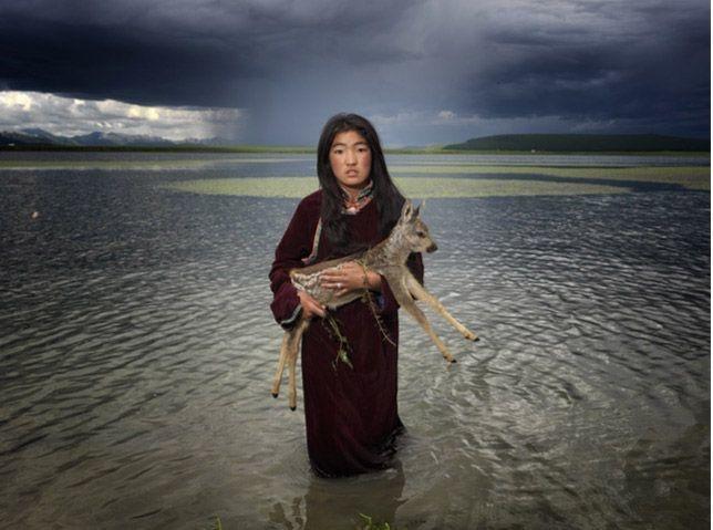 Mongolian Dukha tribe - girl with bambi